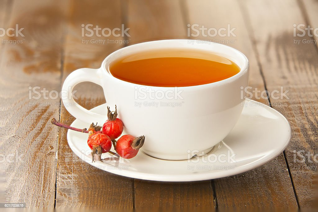 delicious hot tea from red rosehip stock photo