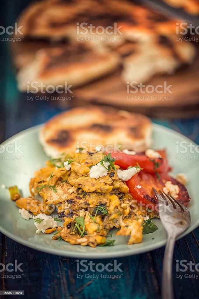 Delicious Indian Masala Fried Egg stock photo