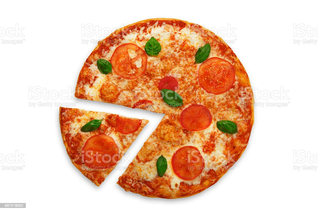 Delicious italian vegetarian pizza Margherita top view isolated stock photo