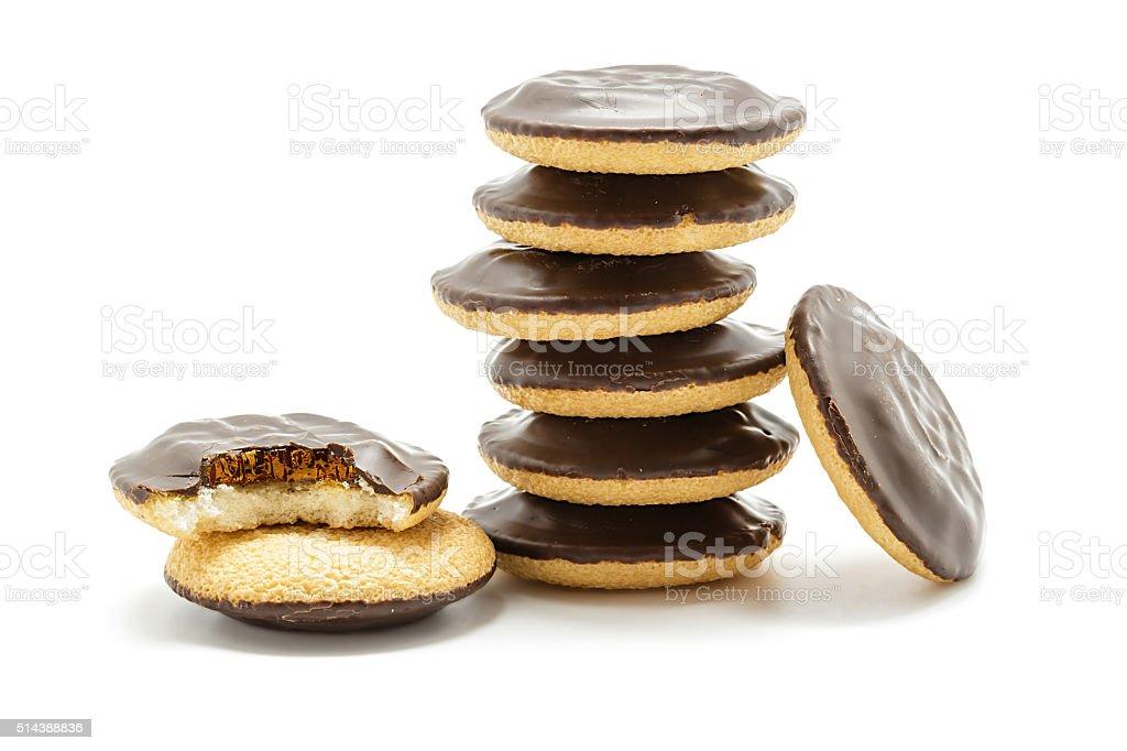 Deliciosas tortas Jaffa. Biscoitos cobertas com chocolate amargo foto royalty-free
