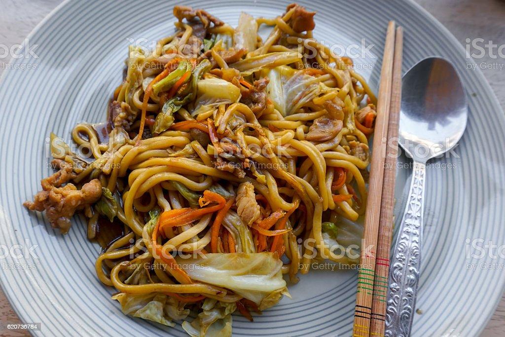 Delicious Japanese cuisine Yakisoba or hot dry noodles Japanese stock photo