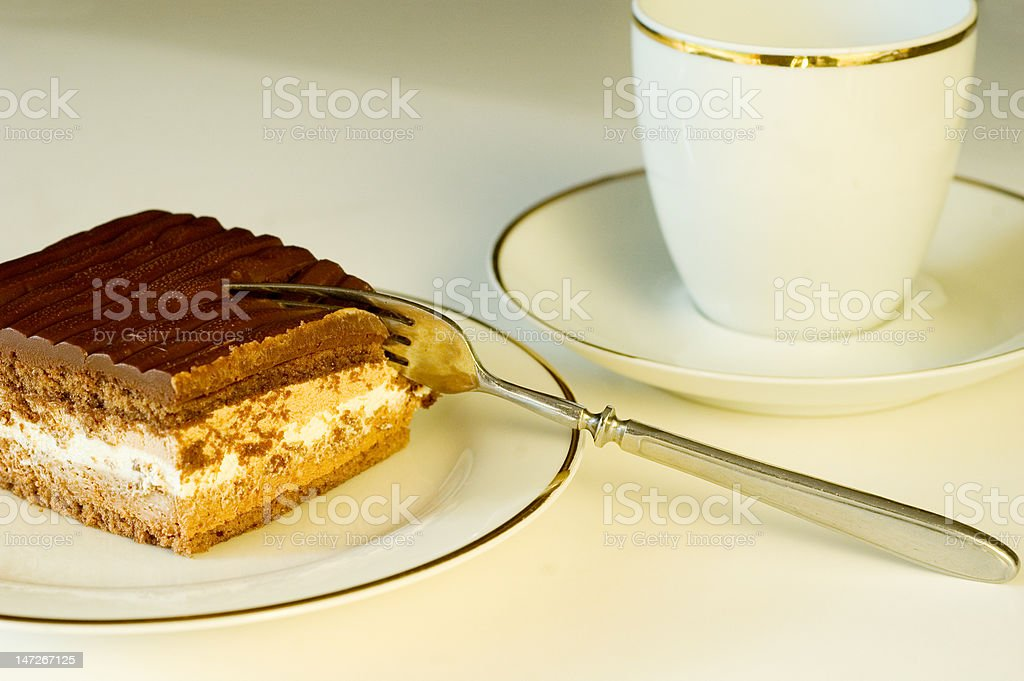 Delicious looking chocolate cake slice royalty-free stock photo