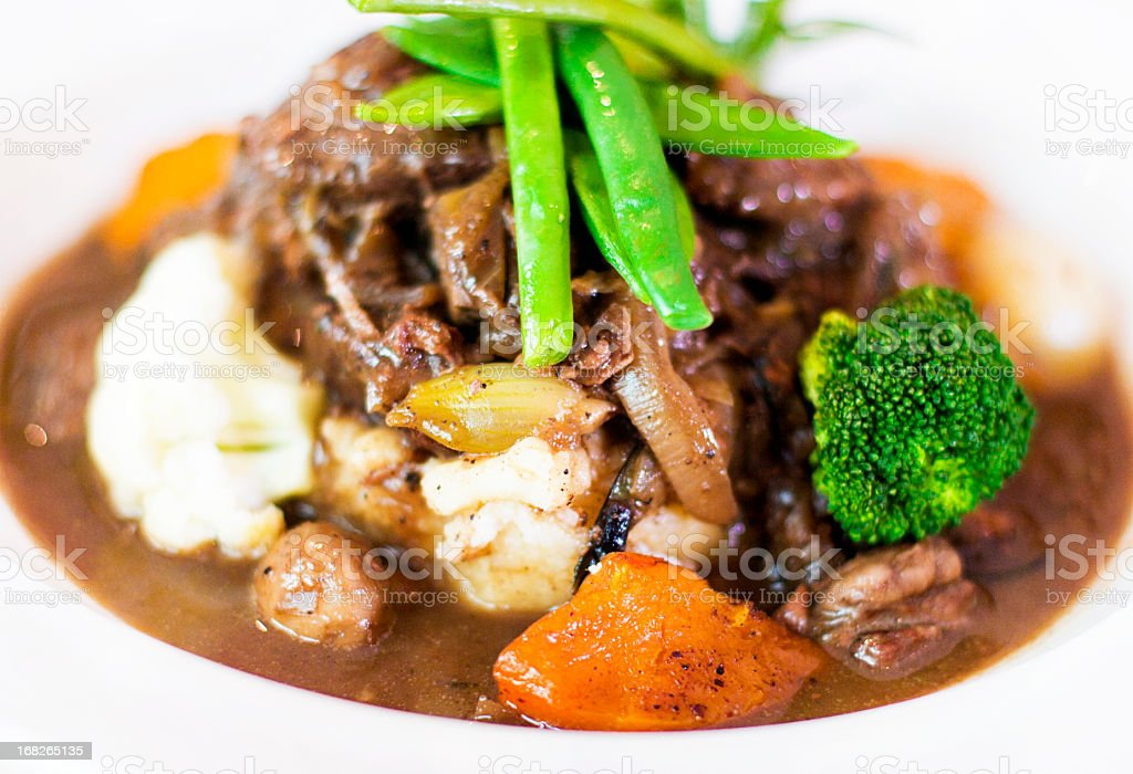 Delicious looking plate of beef stew with vegetables stock photo