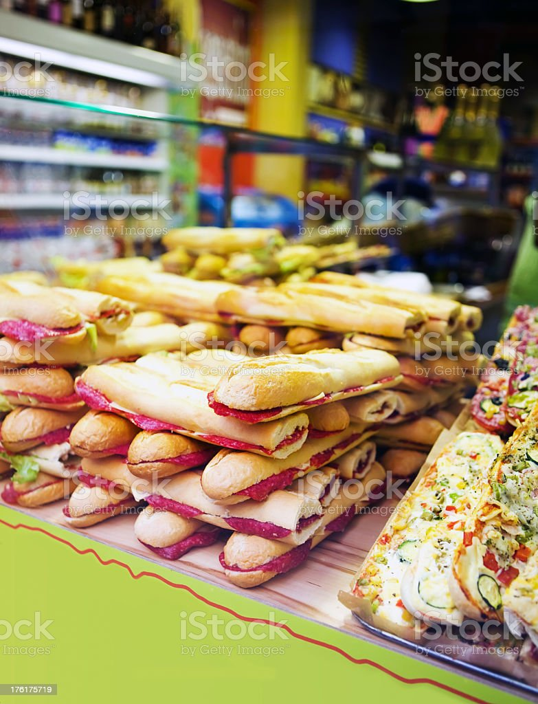Delicious looking sandwiches and food stock photo