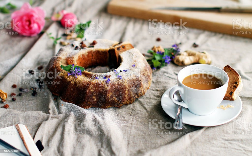 Delicious Marble Cake with Coffee stock photo