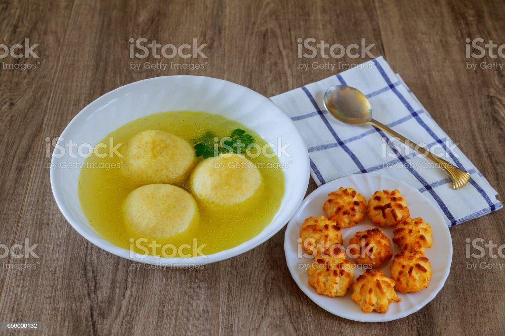 Delicious Matzoh ball soup homemade healthy stock photo