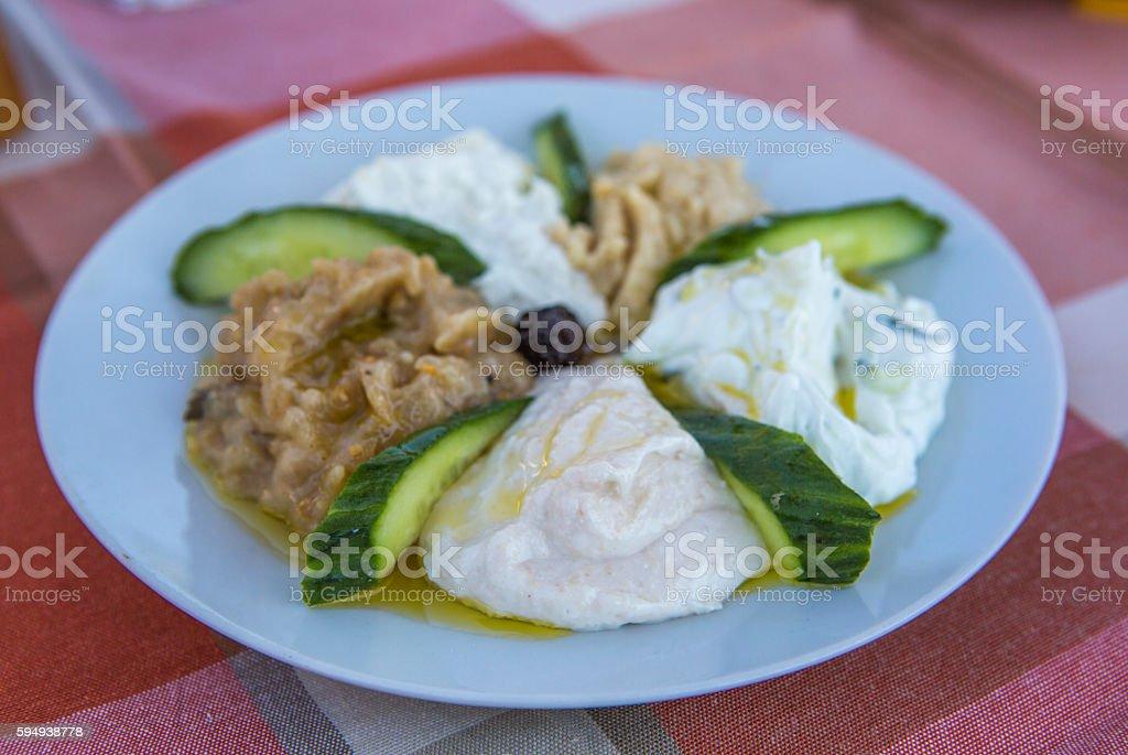 delicious mediteranean appetizer dish at thassos island kavala greece stock photo