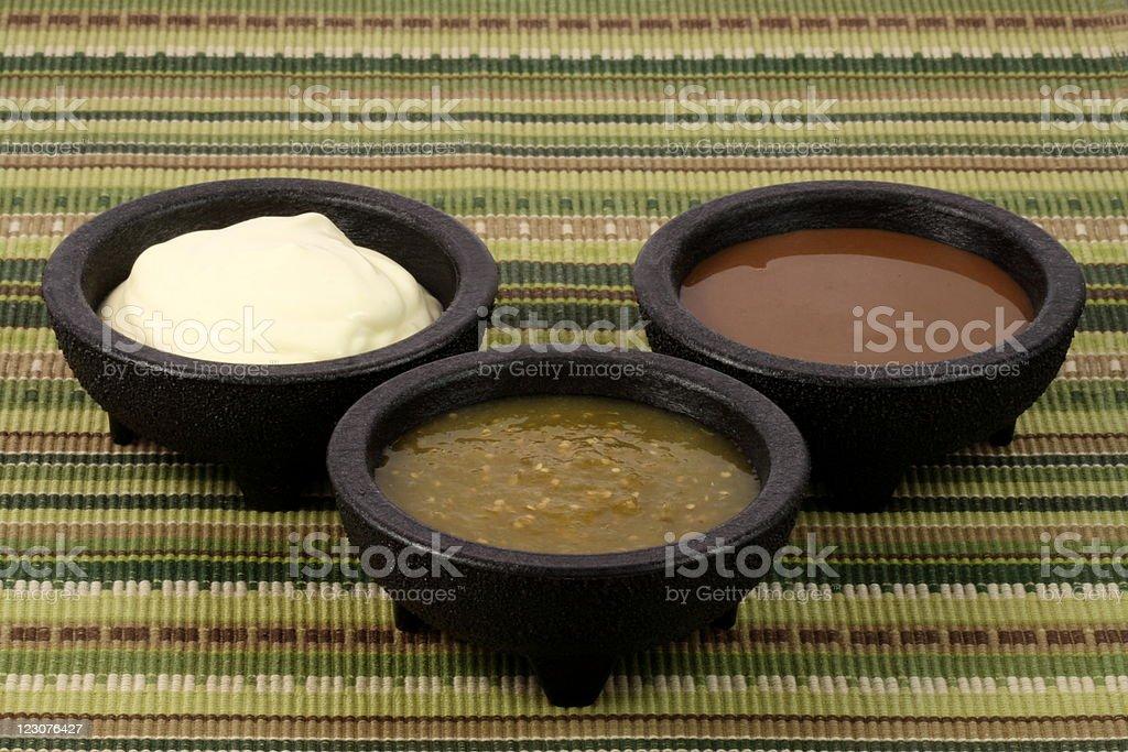 delicious mexican sauces stock photo