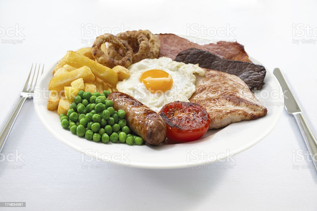Delicious mixed grill served in the pub royalty-free stock photo