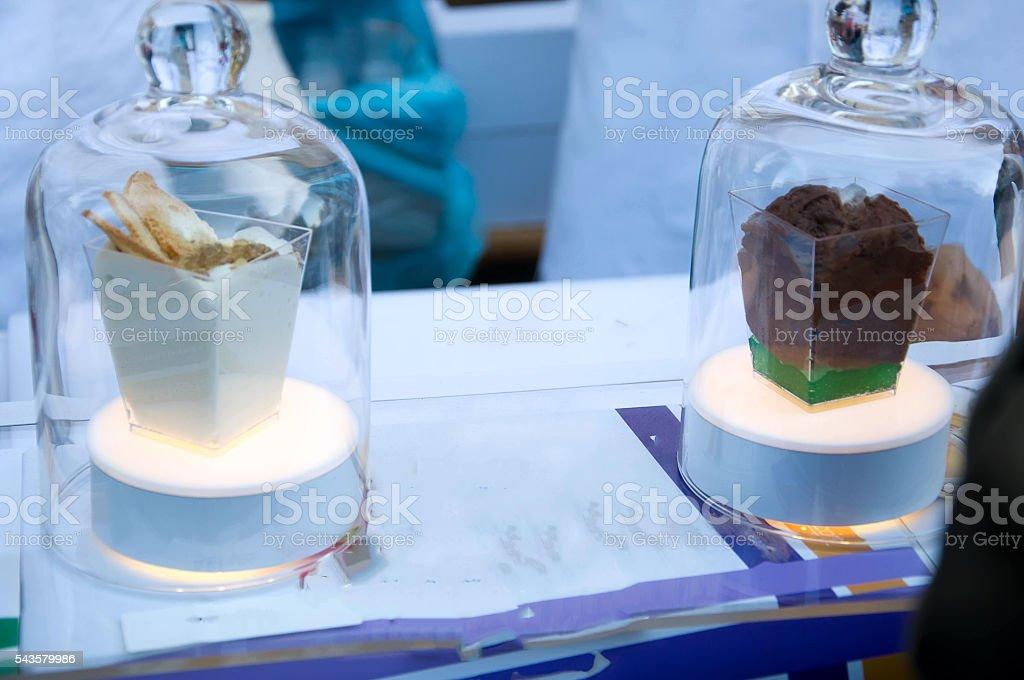 delicious molecular dessert stock photo