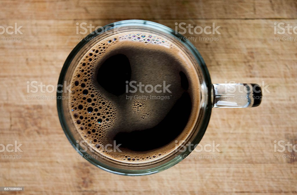 Delicious morning coffee on wooden background stock photo