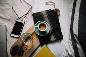 Delicious Morning fresh espresso coffee in Bed