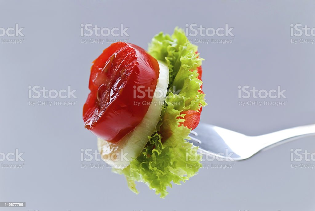 delicious morsel of cheese,salad and vegetables royalty-free stock photo