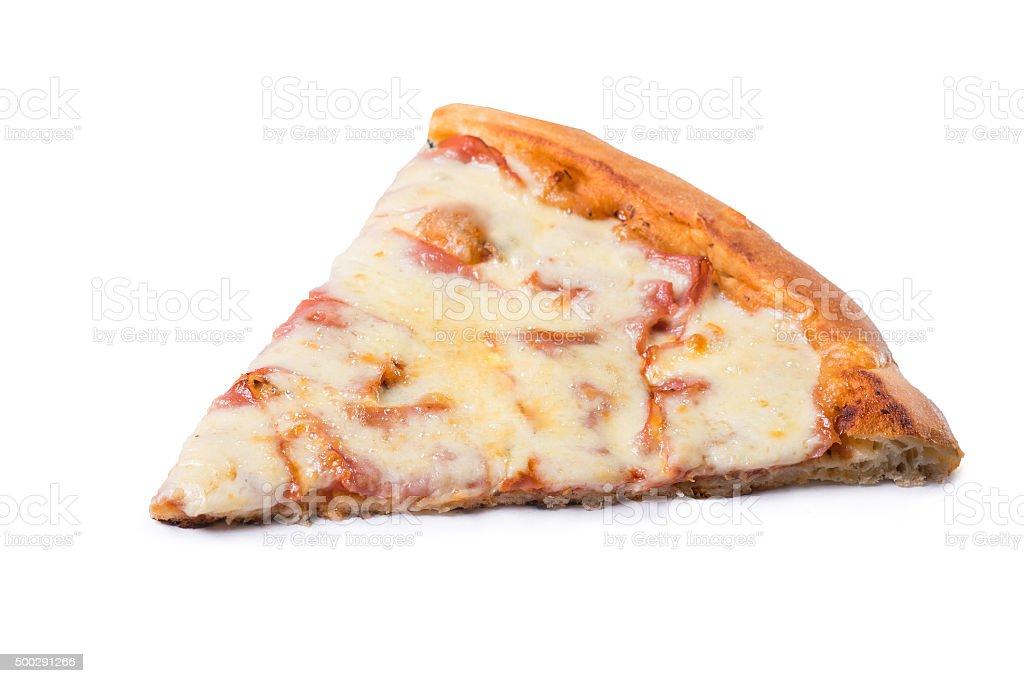 Delicious mozzarella pizza slice on white background stock photo