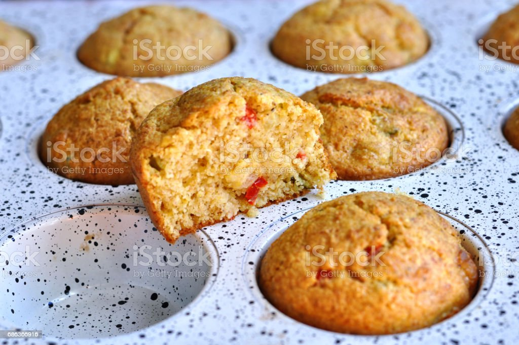Delicious muffins in the pan for baking. Homemade bakery . stock photo