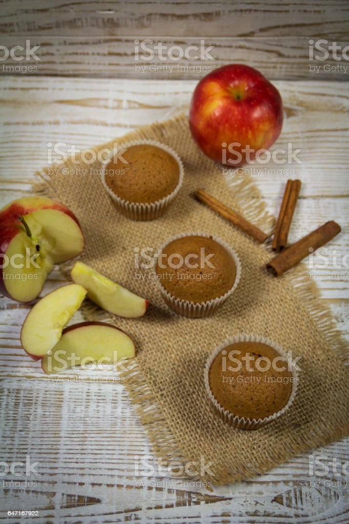 Delicious Muffins with apple stock photo