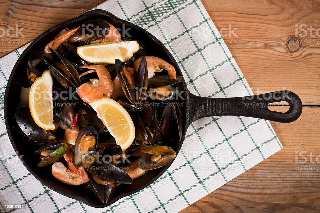 Delicious mussels and prawns. royalty-free stock photo