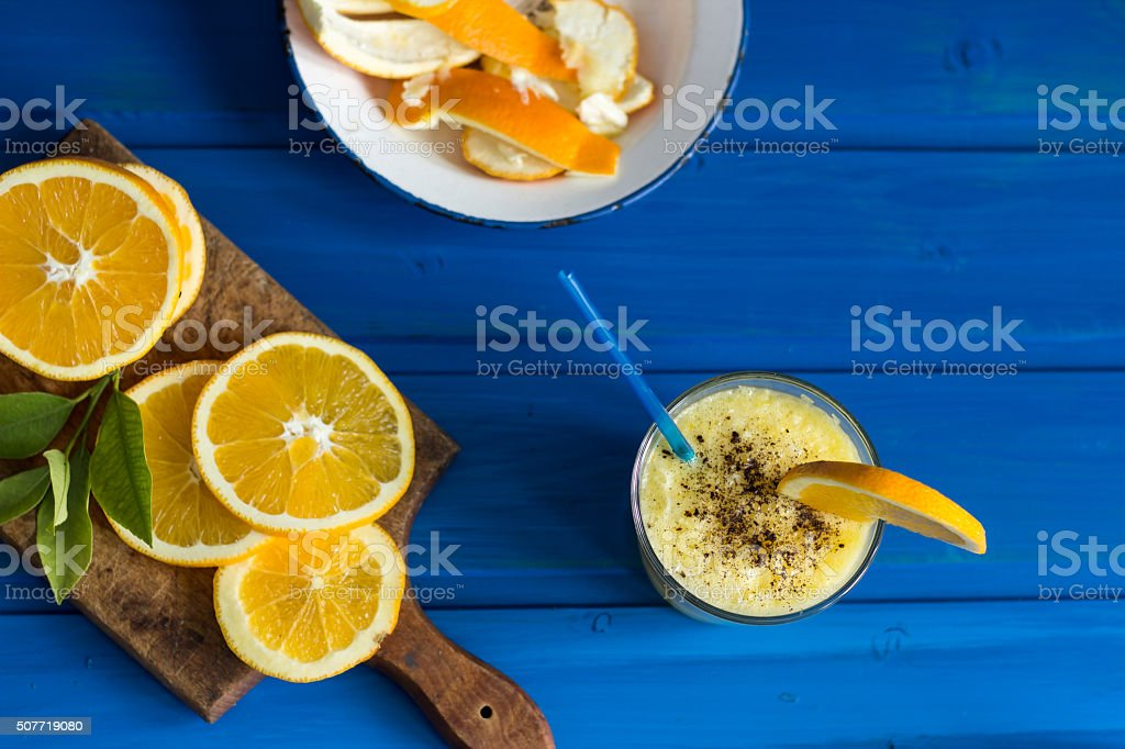 Delicious orange juice in glass royalty-free stock photo