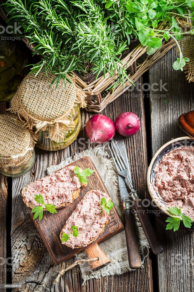 Delicious pate with parsley stock photo