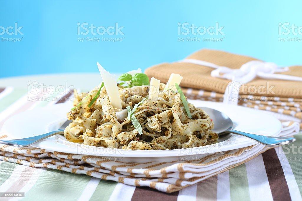 delicious pesto pasta royalty-free stock photo