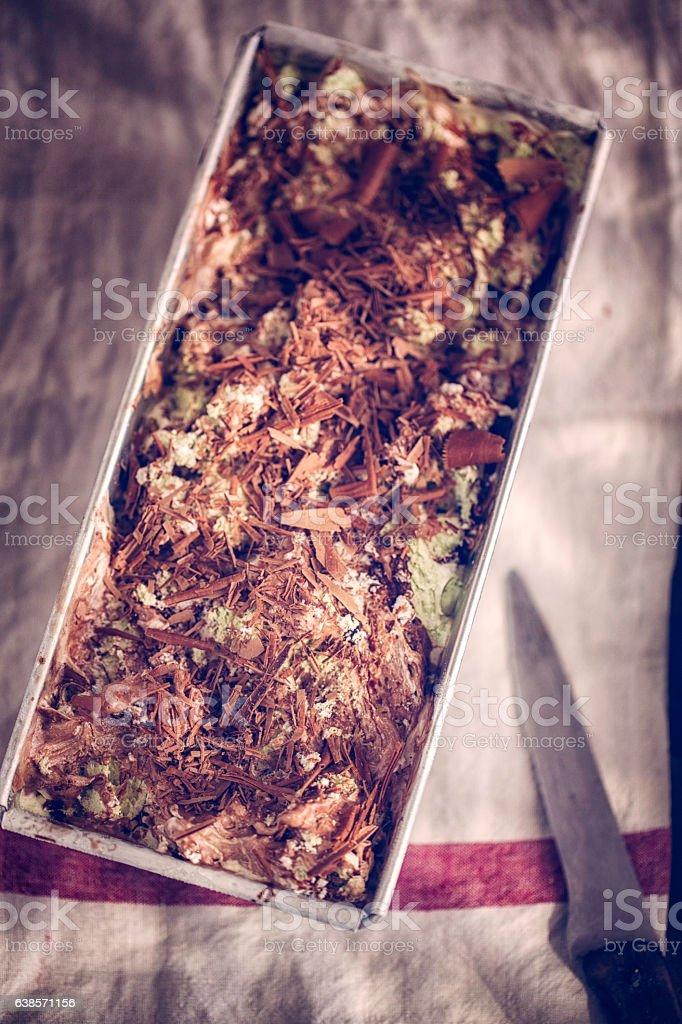 Delicious Pistachio Chocolate Ice Cream Dessert stock photo