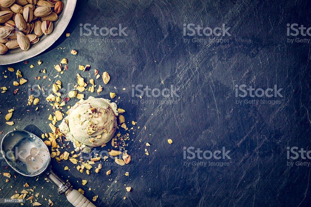 Delicious Pistachio Ice Cream on a Background stock photo