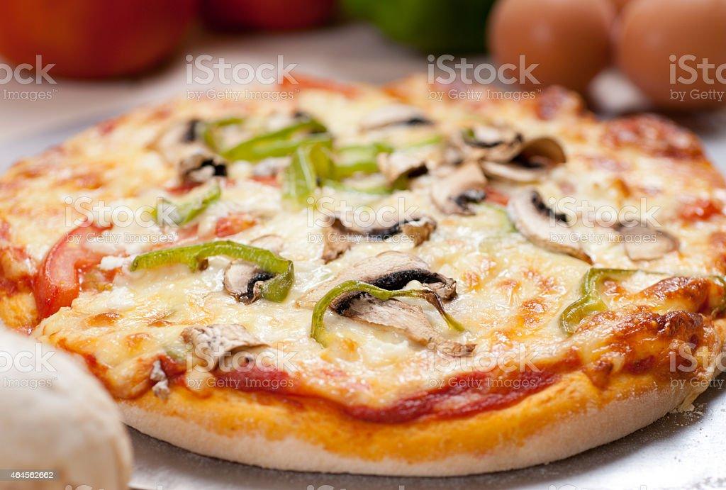 Delicious pizza close up stock photo