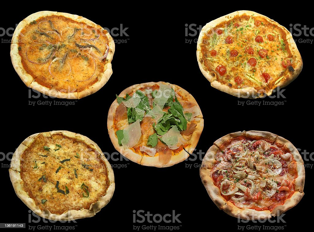 Delicious Pizza, different flavors isolated on black stock photo