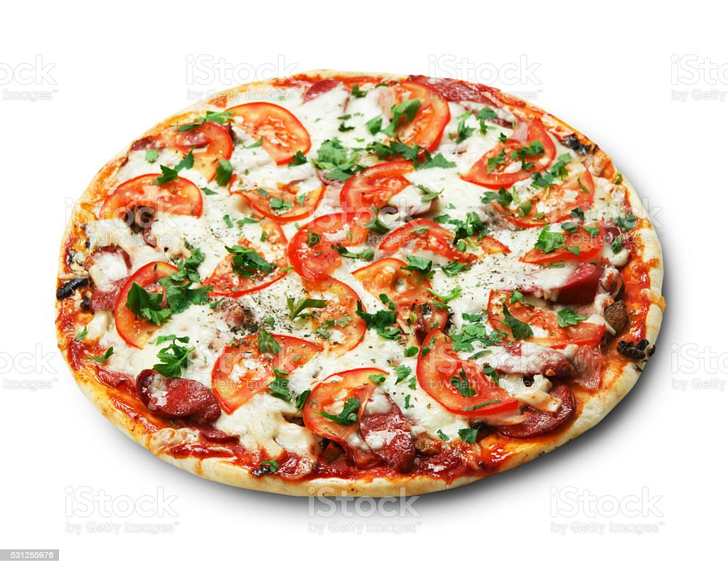 Delicious pizza with mushrooms and smoked sausages stock photo