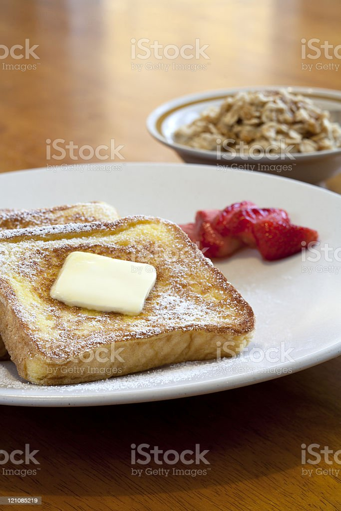 Delicious plate of french toast. stock photo