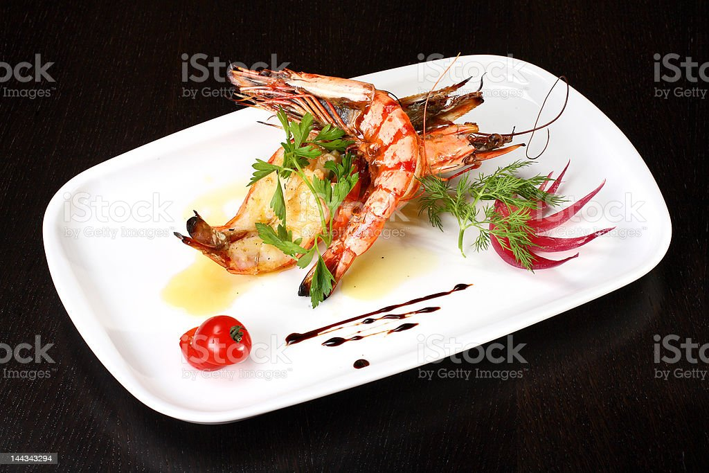 Delicious plate of prawns royalty-free stock photo