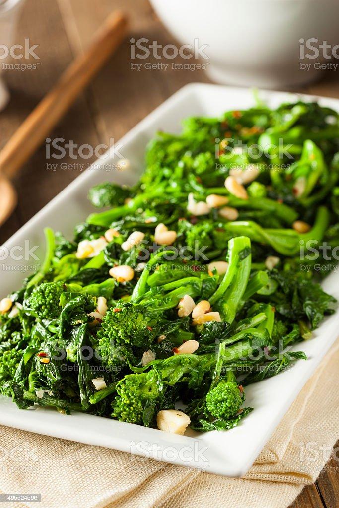 A delicious platter of homemade sauteed green broccoli stock photo