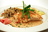 A delicious platter of Macadamia Crusted Halibut