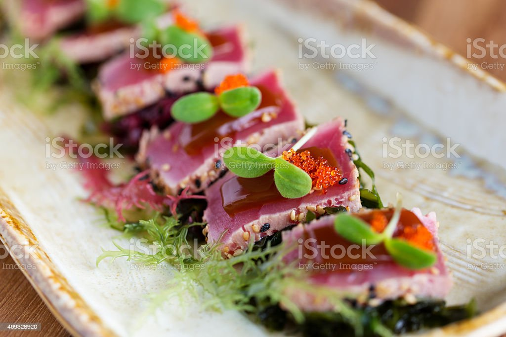 A delicious platter of Tuna tataki stock photo