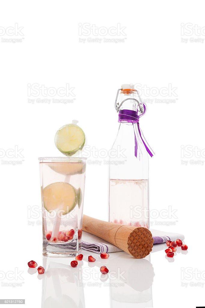 Delicious pomegranate lemonade. stock photo