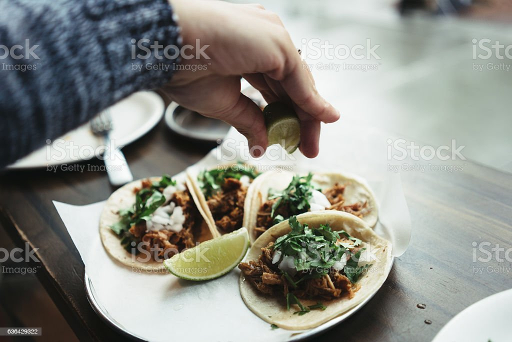 Delicious pork tacos stock photo