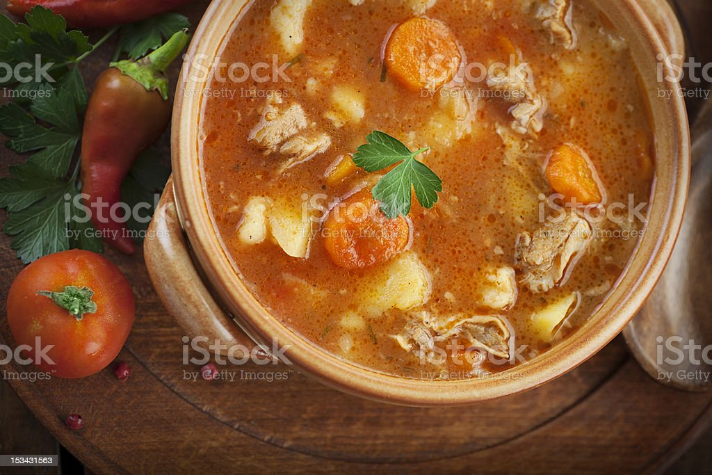A delicious pot of homemade veal stew stock photo