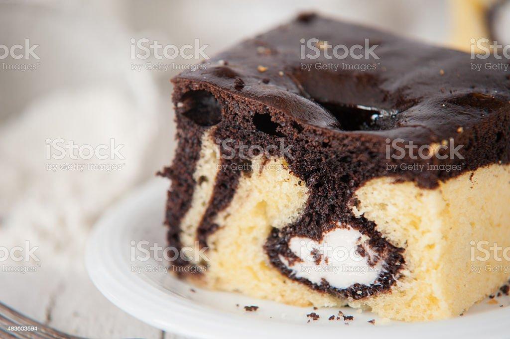 Delicious pound cake with cream stock photo