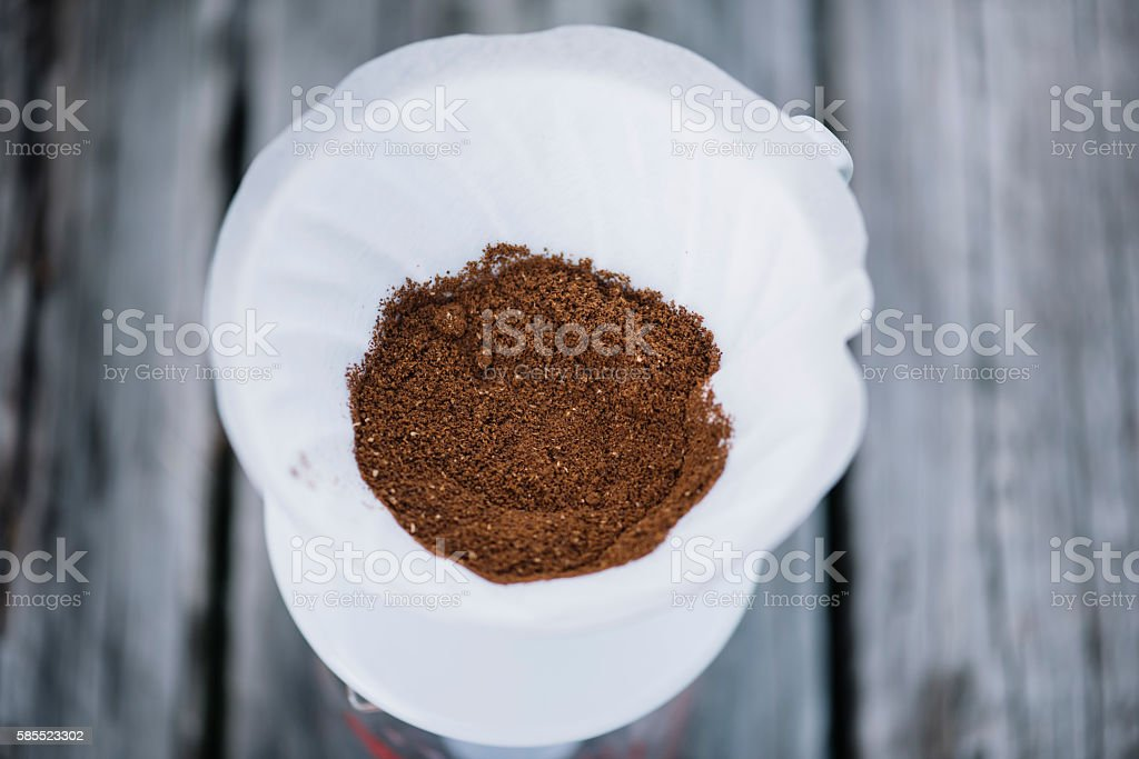 Delicious pourover coffee blossoming stock photo