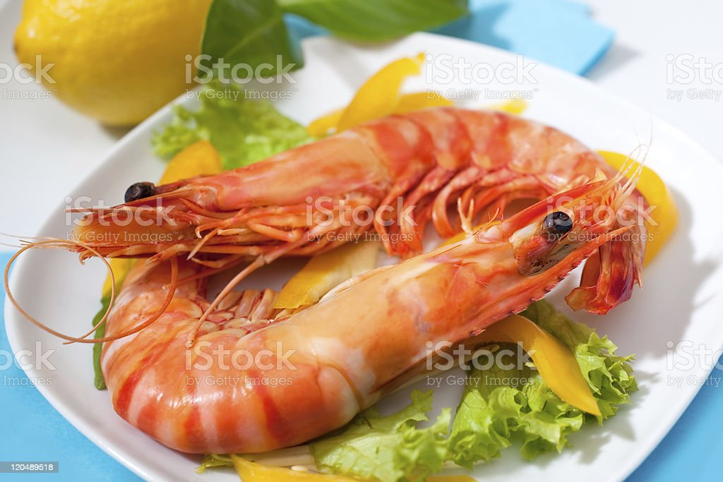 delicious prawns royalty-free stock photo