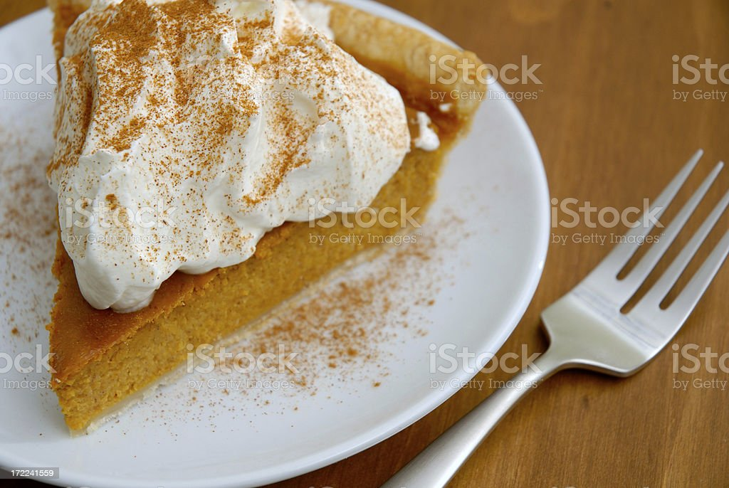 Delicious Pumpkin Pie and a Fork stock photo