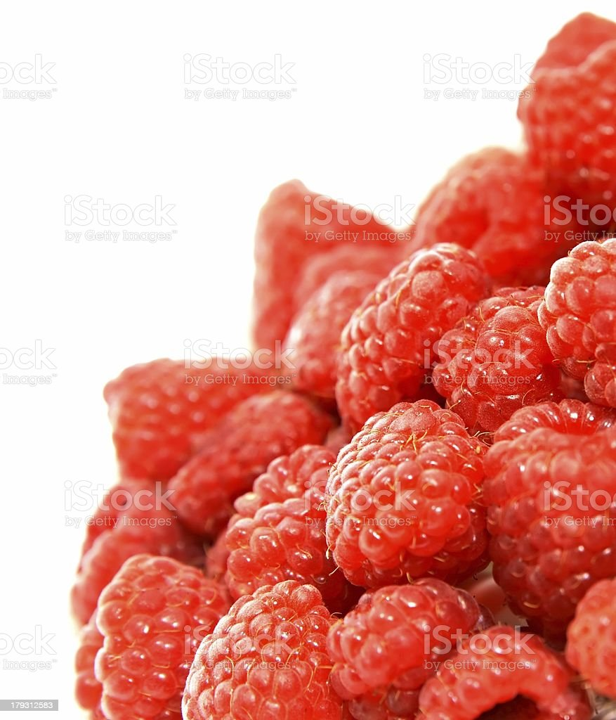Delicious raspberries isolated on white background royalty-free stock photo