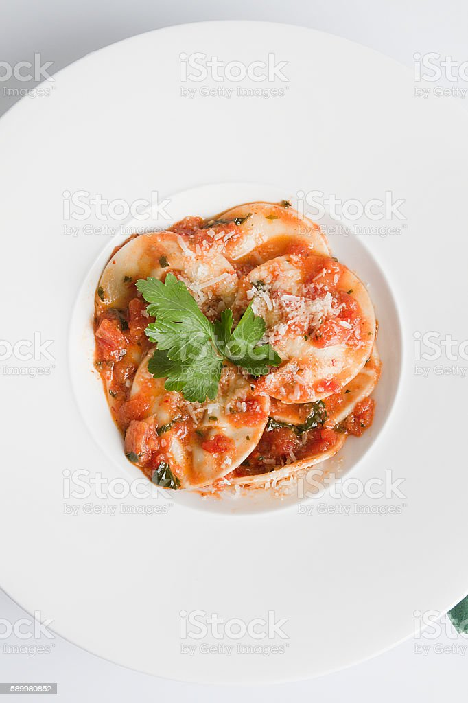 delicious ravioli pasta top view stock photo