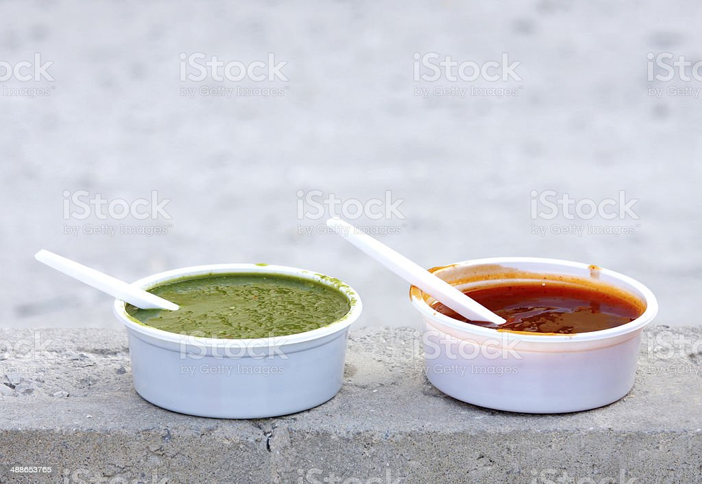 Delicious red and green mint chutney stock photo