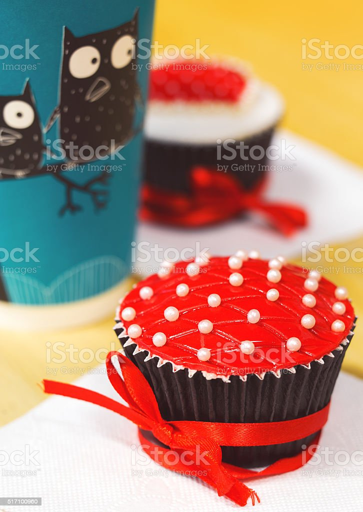 Delicious red decorated cupcake for valentine's day stock photo