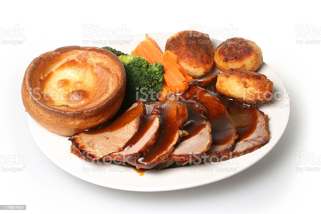 Delicious roast beef dinner for special occasions stock photo