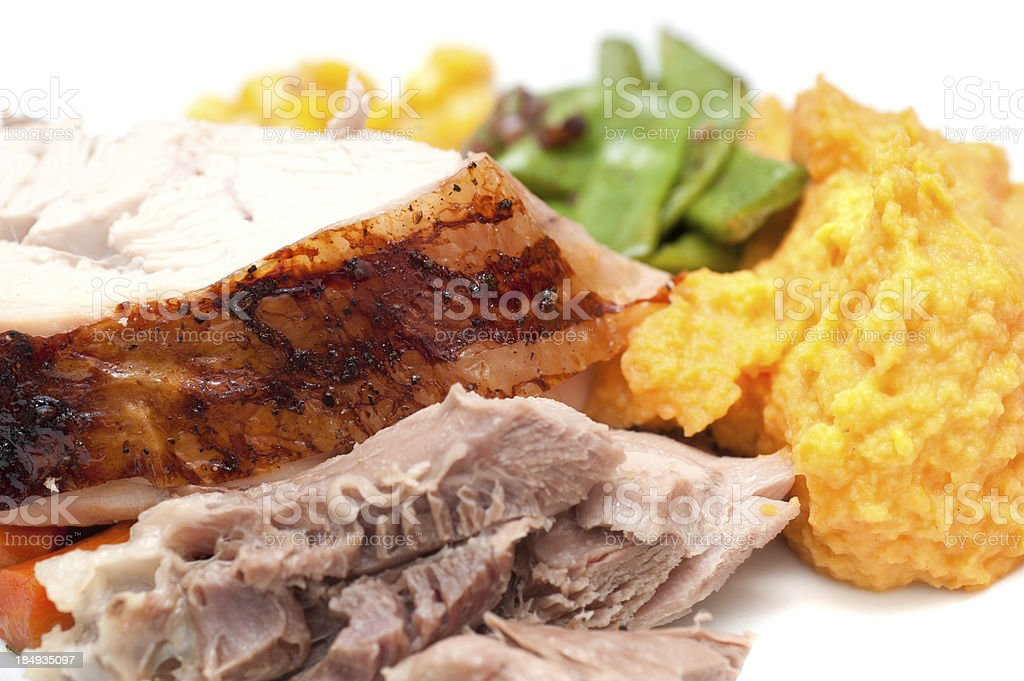 delicious roast on plate stock photo