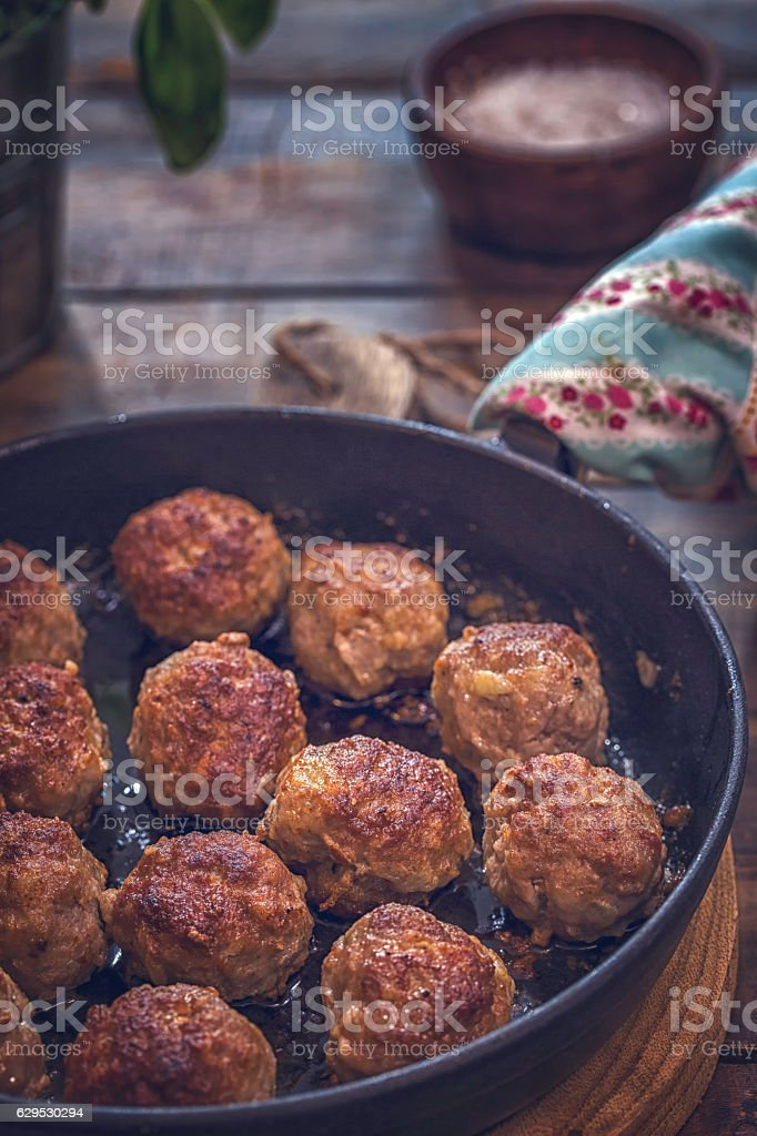 Delicious Roasted Meatballs in a Pan stock photo