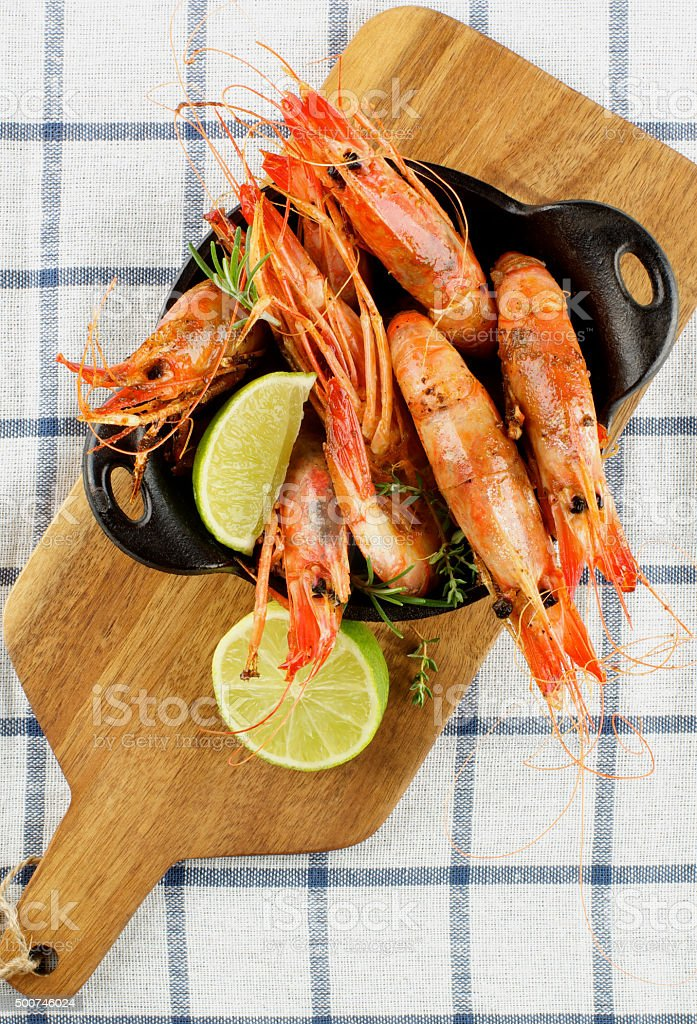 Delicious Roasted Shrimps stock photo
