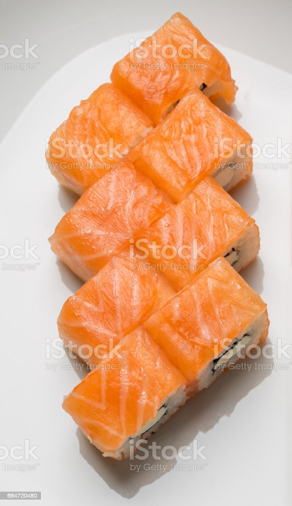 delicious rolls with salmon top view stock photo